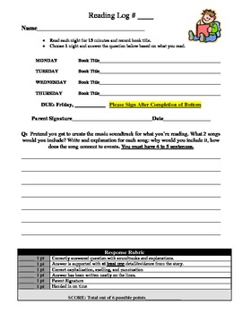 Reading Response Homework Set (1 to 5)
