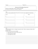 Reading Response Homework Sheets #2