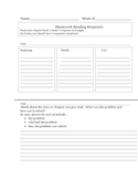 Reading Response Homework Sheets