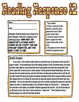 Reading Response: How does a character's actions affect others?