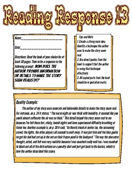 Reading Response: How does the author provide information to make it feel real?