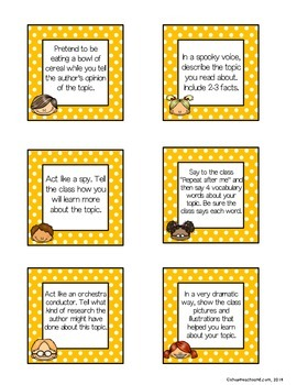 Reading Response Improv Cards: NonFiction Edition