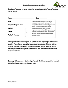 Reading Response Journal Activity Sample Page
