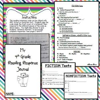 "Reading Response Journal ""Code"" for Fourth Grade"