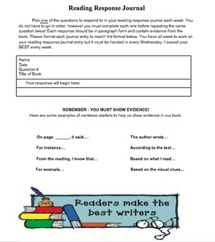 Reading Response Journal Directions and Prompts