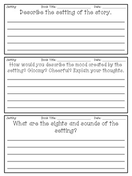 Reading Response Journal Entries: Character, Plot, Setting