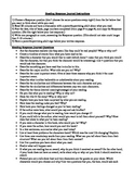 Reading Response Journal Instructions and Questions