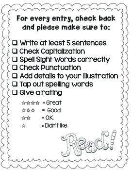 Reading Response Journal Notebook - Handwriting Lines & Sentence Starters (K-2)
