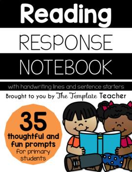 Reading Response Journal Notebook - Handwriting Lines & Se