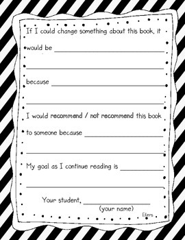 Reading Response Journal Pages - fill in the blank