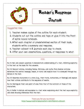 Reading Response Journal Prompt w/CCSS