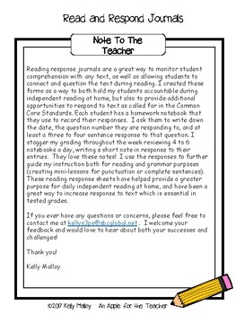 Reading Response Journal Prompts and Reading Logs - 5th Grade Read and Respond