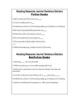 Reading Response Journal Sentence Starters for Fiction and Nonfiction