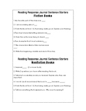 Reading Response Journal Sentence Starters for Fiction and