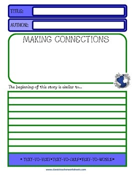 Reading Response Journal - Text-to-Text, Text-to-Self, Text-to-World - Beginner