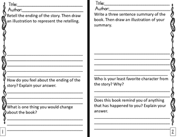 Reading Response Journal for Any Fiction & Nonfiction Text