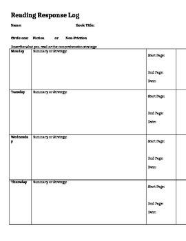 Reading Response Journal or Log
