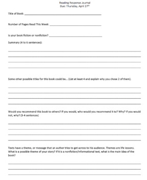 Reading Response Journal (with various response questions)