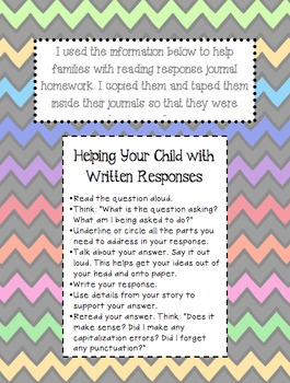 Reading Response Journal/Notebook Prompts
