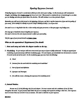 Reading Response Journals / Writing