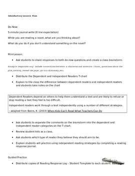 Reading Response Journals for Any Novel