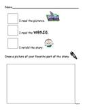 Reading Response Kindergarten Worksheet (3 ways to read a book)
