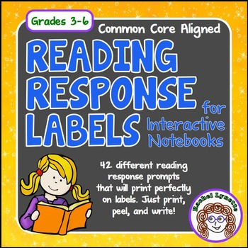 Reading Response Labels For Interactive Notebooks 42 Prompts Tpt