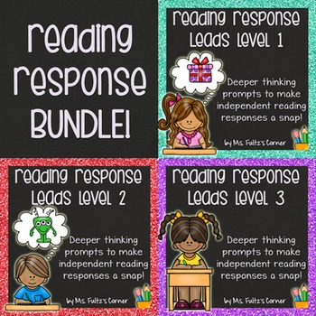 Reading Response Leads BUNDLE with Checklist, Example, & Rubric Level Three