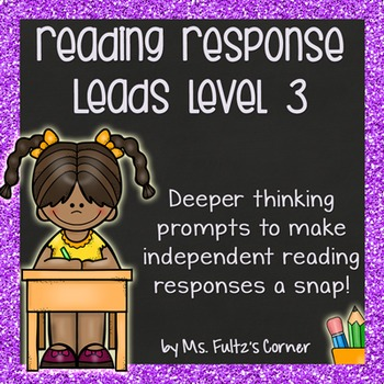 Reading Response Leads with Checklist, Example, & Rubric Level Three