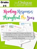 Reading Response Log Throughout the Year