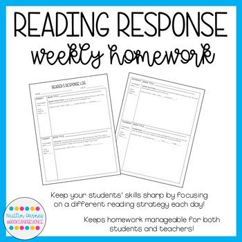 Reading Response Log--Weekly Homework