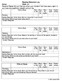Reading Response Log for Fiction and Nonfiction