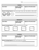 Reading Response Log (for young students) -- modified for inclusion classrooms