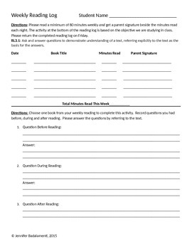 Reading Response Logs Based on CCSS for Reading Literature