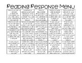 Reading Response Menu