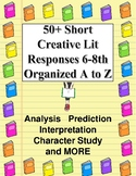 Reading Response Menu: 50+ Fun Choices A to Z for 6-8 Fiction Critical Reading