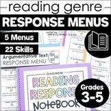 Reading Response Menu Choice Boards | 3rd 4th 5th Grade |