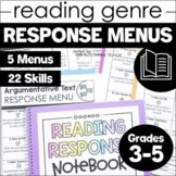 Reading Response Menu Choice Boards for 3rd 4th and 5th Grade