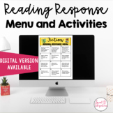 Fiction Reading Response Menu Choices With Activities | Di