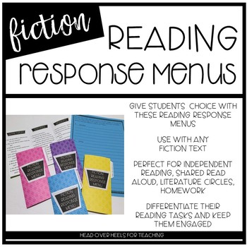 Reading Response Fiction Menu {Common Core Aligned}