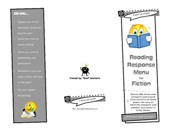 Reading Response Menu for Fiction