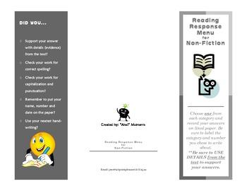 Reading Response Menu for Non-Fiction