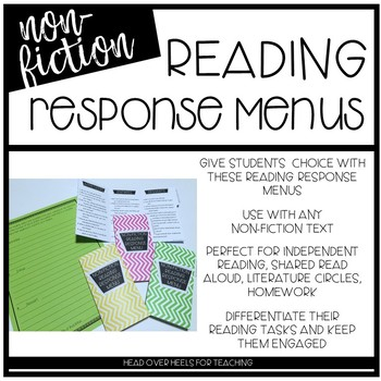 Reading Response Menu for Non-Fiction {Common Core Aligned}