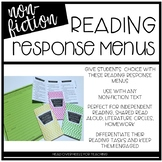 Reading Response Menu for Non-Fiction {Common Core Aligned}