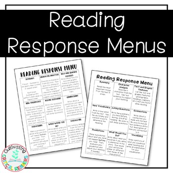 Reading Response Menus