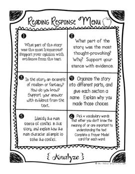 Reader Response Menus: A Recipe for Reading Success!