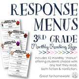 Reading Response Menus Across the Year {3rd Grade CCSS-Aligned}