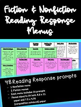 Reading Response Menus (Fiction & Nonfiction)