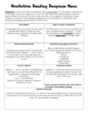 Reading Response Menus-Nonfiction and Fiction