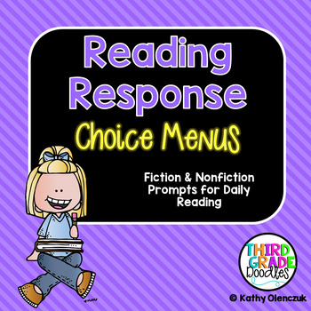 Reading Response Menus -- Prompts for Daily Reading -- EDITABLE!!